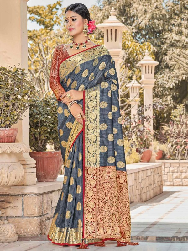 Grey Colour Silk Women Saree.