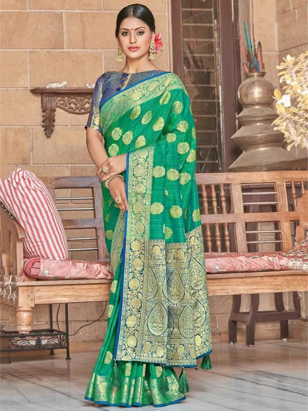 Rama Green Colour Silk Saree.