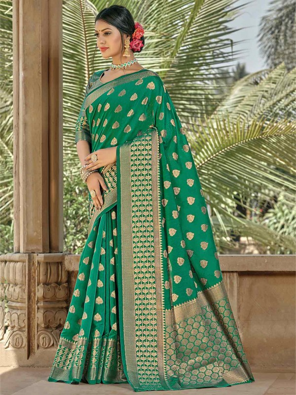 Rama Green Colour Handloom Saree.