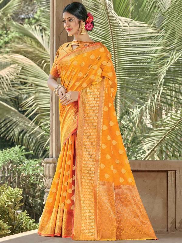 Yellow Colour Handloom Cotton Saree.