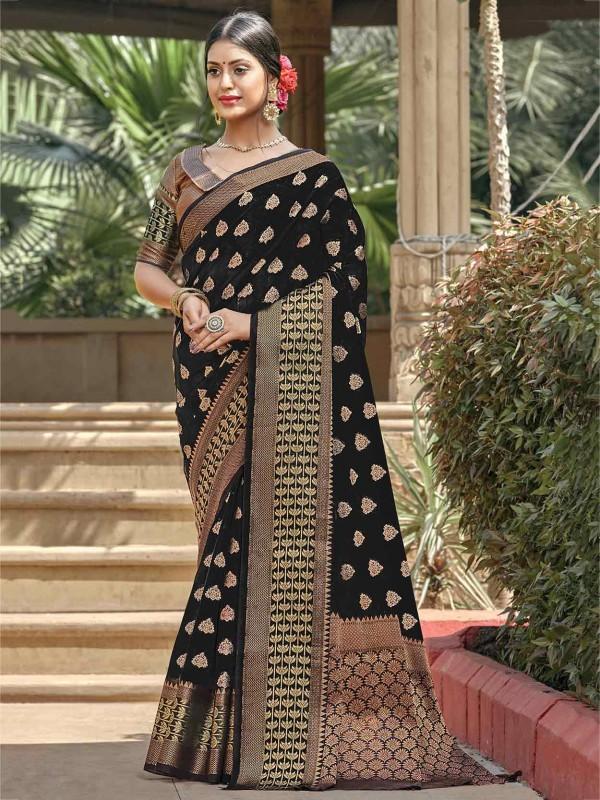 Handloom Cotton Saree Black Colour.