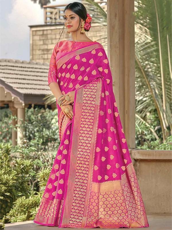 Rani Pink Colour Handloom Saree.