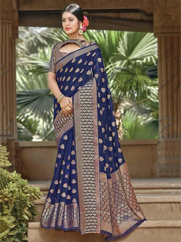 Blue Colour Handloom Printed Saree.