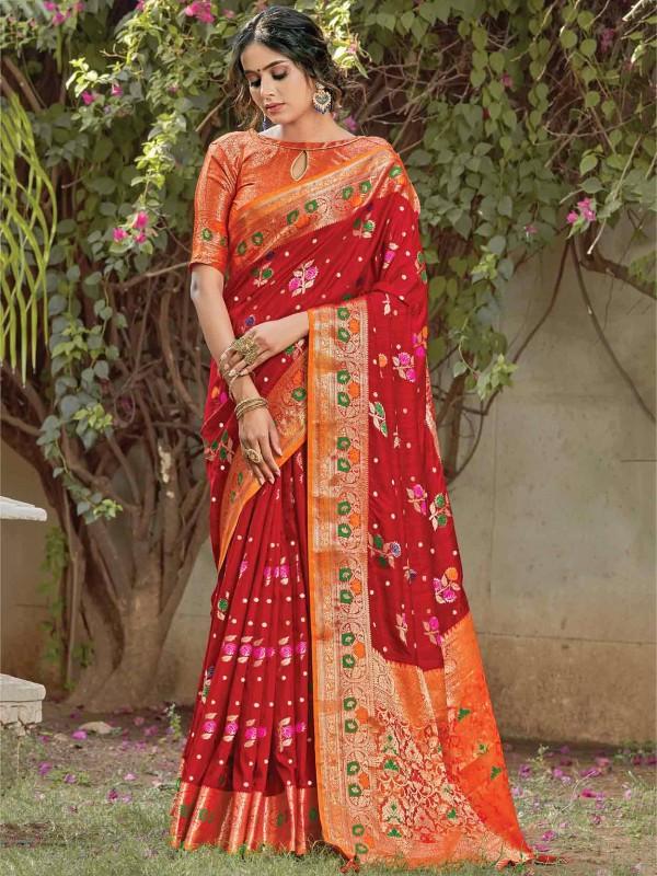 Red Colour Silk Weaving Saree.
