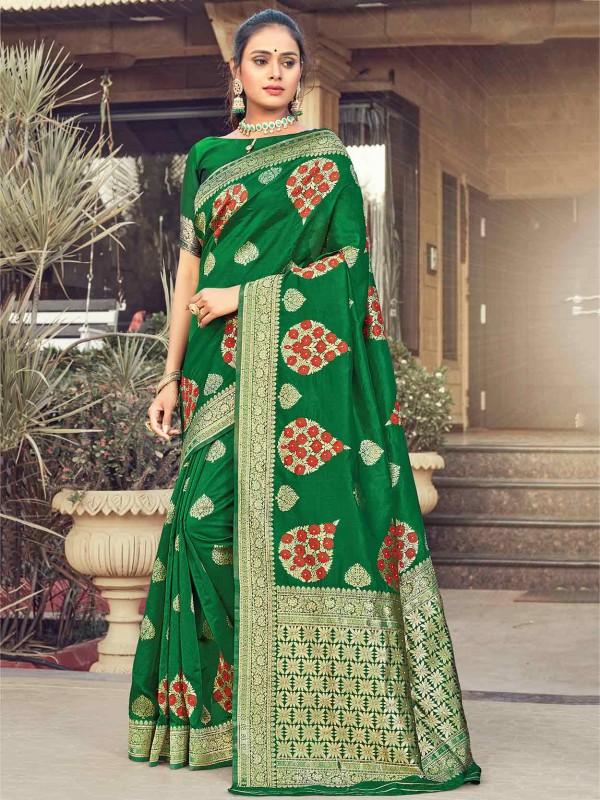 Green Colour Silk Fabric Saree.