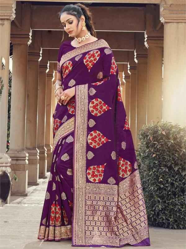Silk Party Wear Saree Purple Colour.