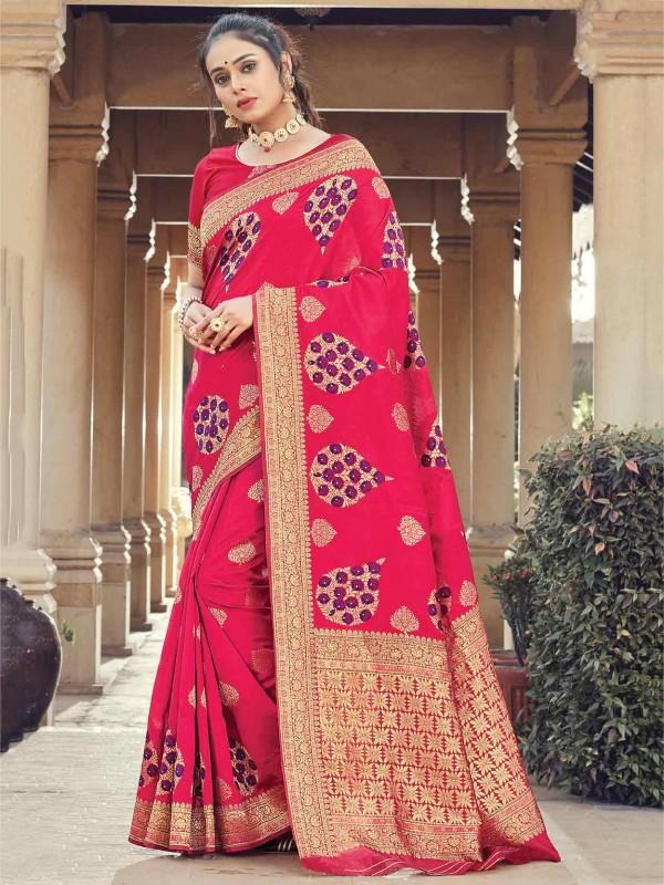 Pink Colour Silk Fabric Weaving Saree.