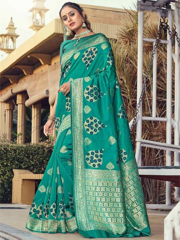 Silk Fabric Designer Saree Rama Green Colour.