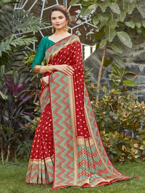 Red Colour Silk Party Wear Saree.
