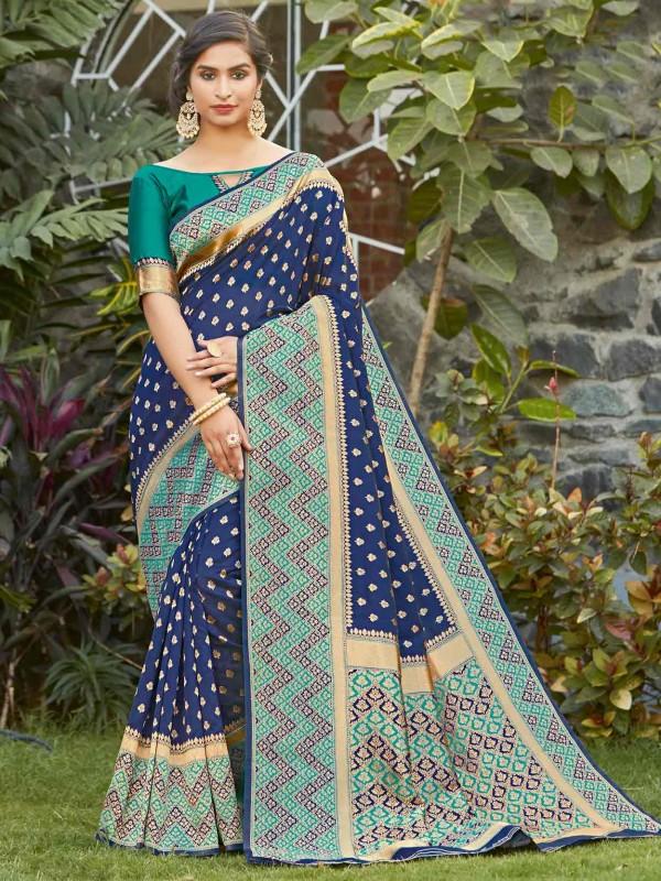 Silk Weaving Saree Blue Colour.