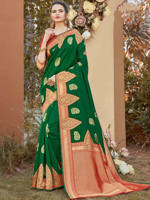 Green Colour Fabric Weaving Saree.