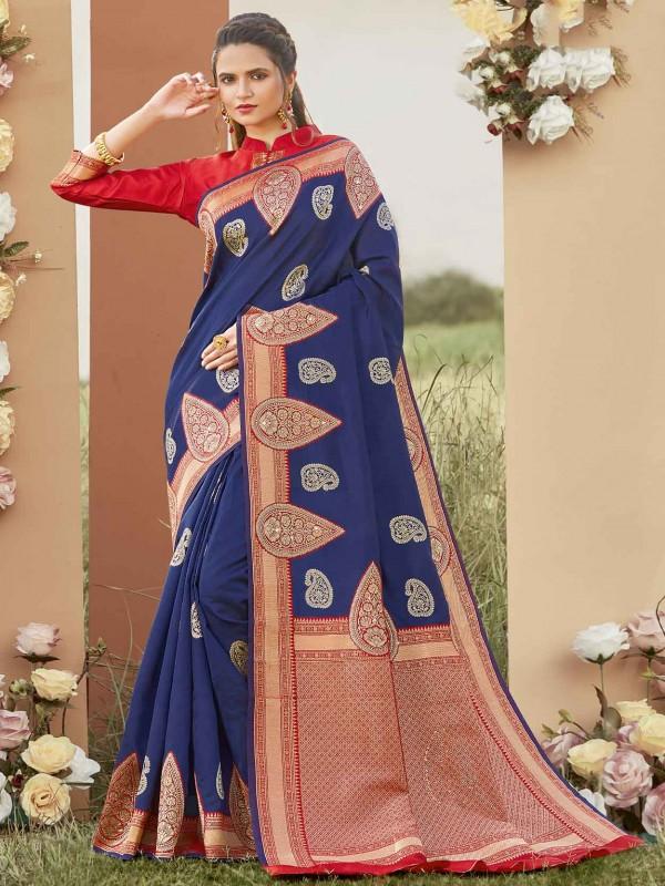 Blue Colour Silk Party Wear Saree.