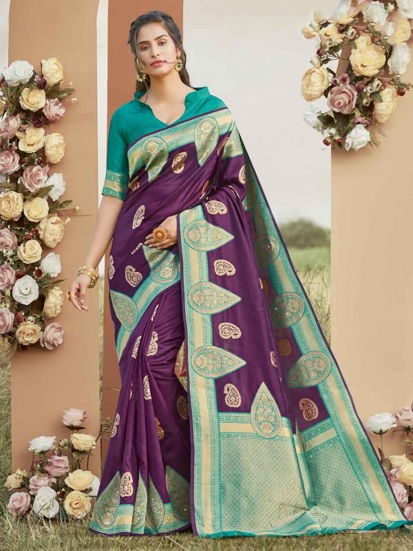 Silk Fabric Saree Purple Colour.