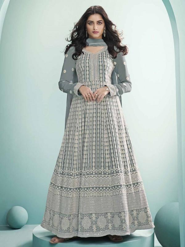 Grey Colour Georgette,Lucknowi Fabric Salwar Suit.