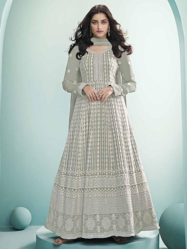 Off White Colour Anarkali Salwar Kameez in Georgette,Lucknowi Fabric.