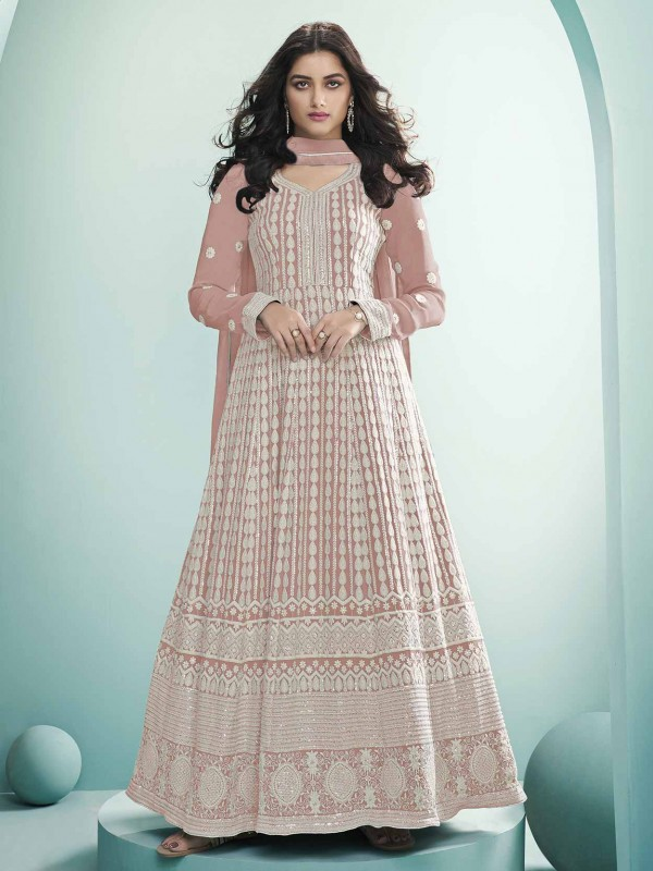 Georgette,Lucknowi Fabric Anarkali Salwar Suit Light Pink Colour.