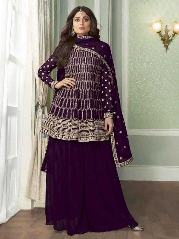 Purple Colour Georgette Fabric Bollywood Salwar Kameez.