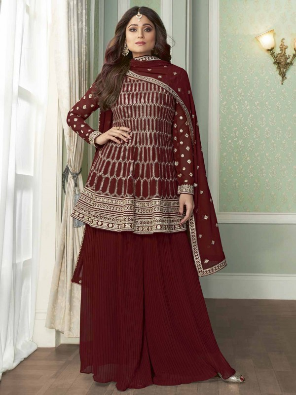 Maroon Colour Georgette Women Salwar Suit.