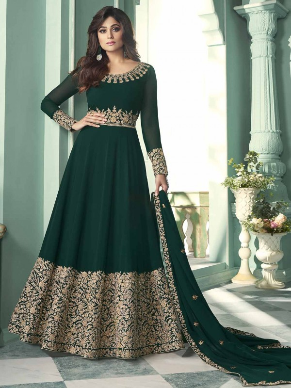 Green Colour Georgette Fabric Anarkali Salwar Suit.