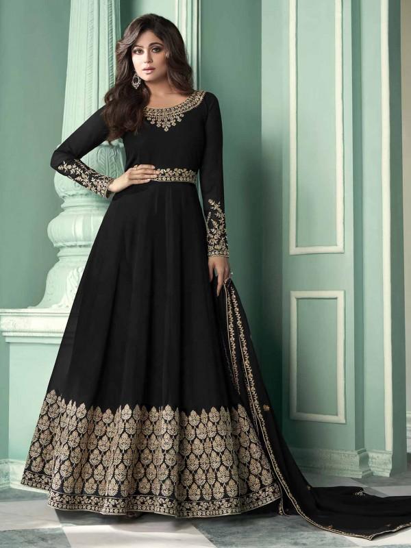 Black Colour Georgette Fabric Party Wear Salwar Suit.