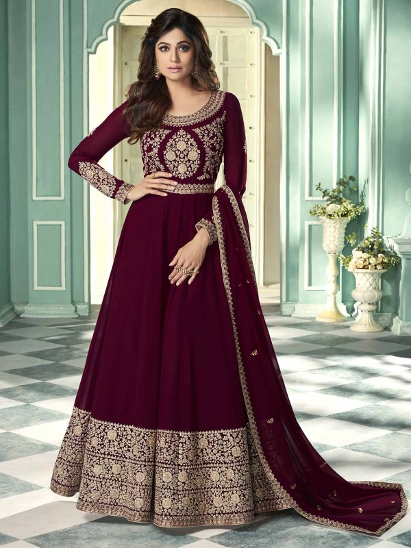 Bollywood Salwar Suit Georgette Fabric Maroon Colour.