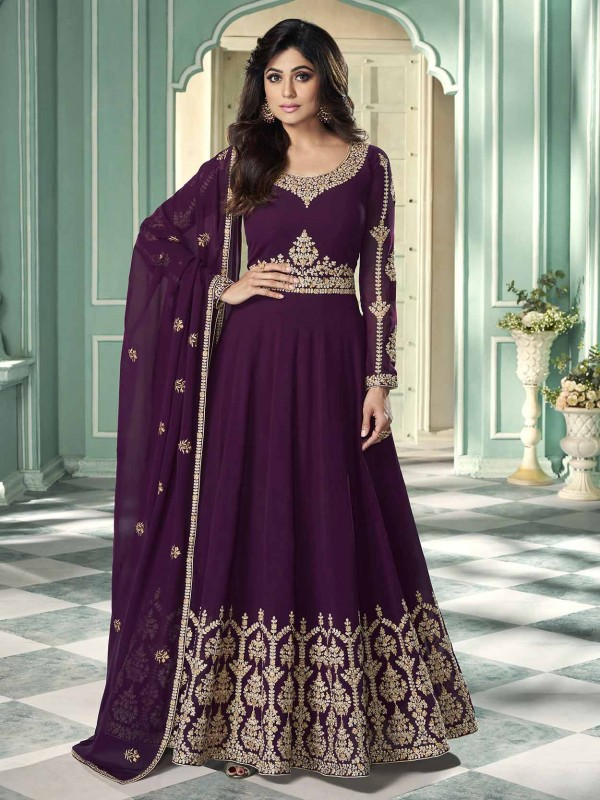 Purple Colour Designer Anarkali Salwar Suit.