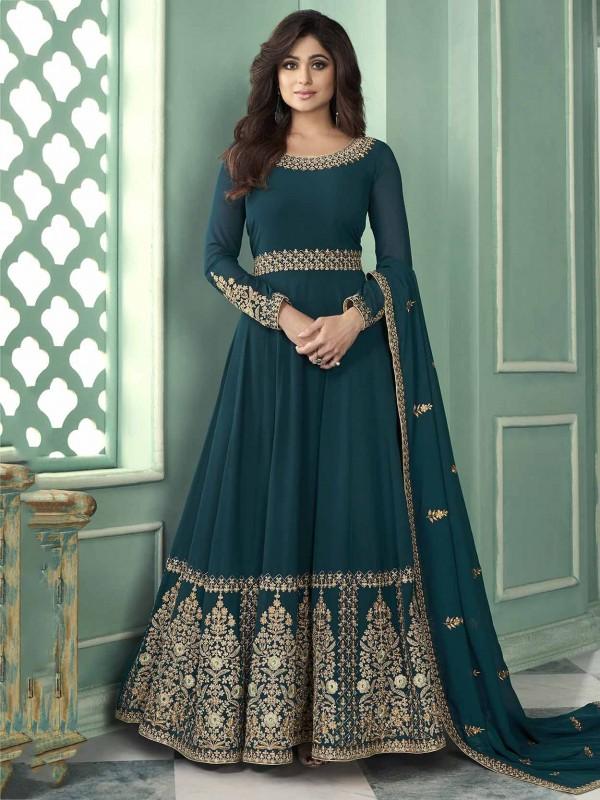 Teal Blue Colour Georgette Anarkali Salwar Kameez.