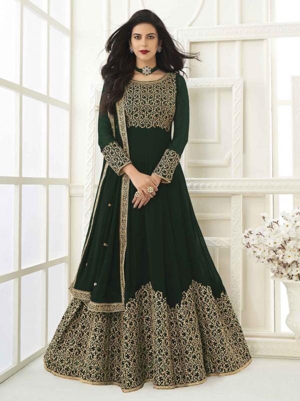 Green Colour Georgette Fabric Womens Anarkali Salwar Suit.