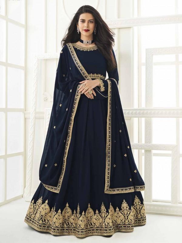Designer Anarkali Salwar Suit Navy Blue Colour Georgette Fabric.