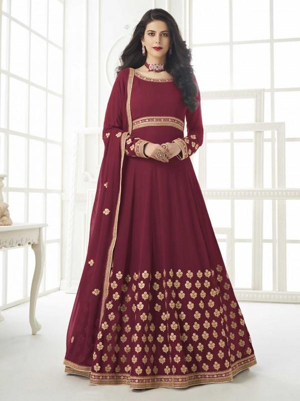 Red Colour Georgette Fabric Anarkali Salwar Kameez.