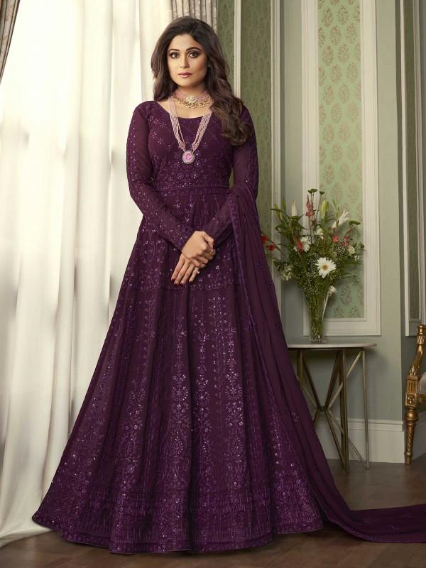 Purple Colour Georgette Fabric Designer Anarkali Salwar Suit.