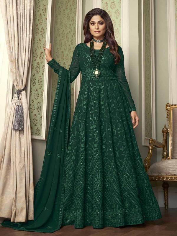 Designer Anarkali Salwar Suit Green Colour Georgette Fabric.