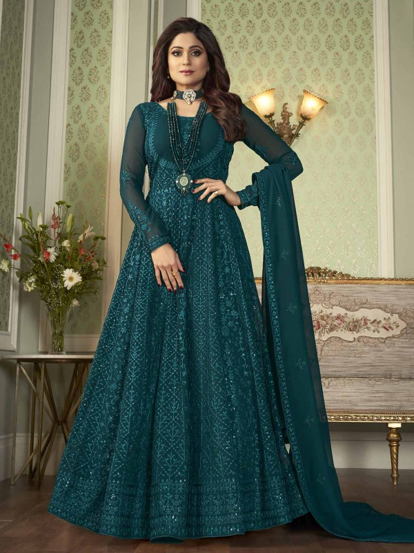 Teal Blue Colour Bollywood Salwar Suit Georgette Fabric.