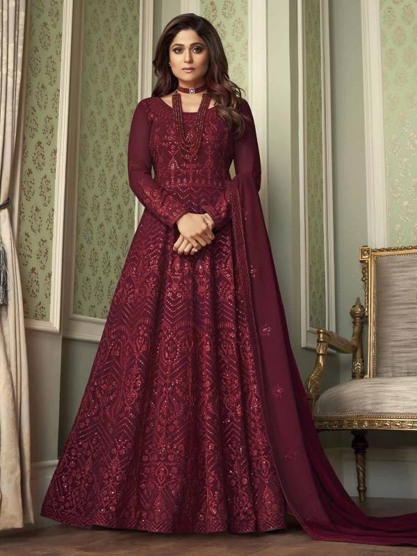 Maroon Colour Georgette Fabric Wedding Salwar Suit.