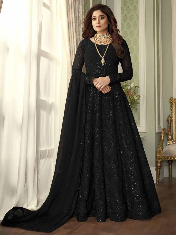 Black Colour Party Wear Salwar Suit Georgette Fabric.