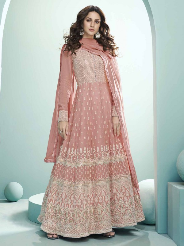 Light Pink Colour Georgette Fabric Lucknowi Salwar Suit.