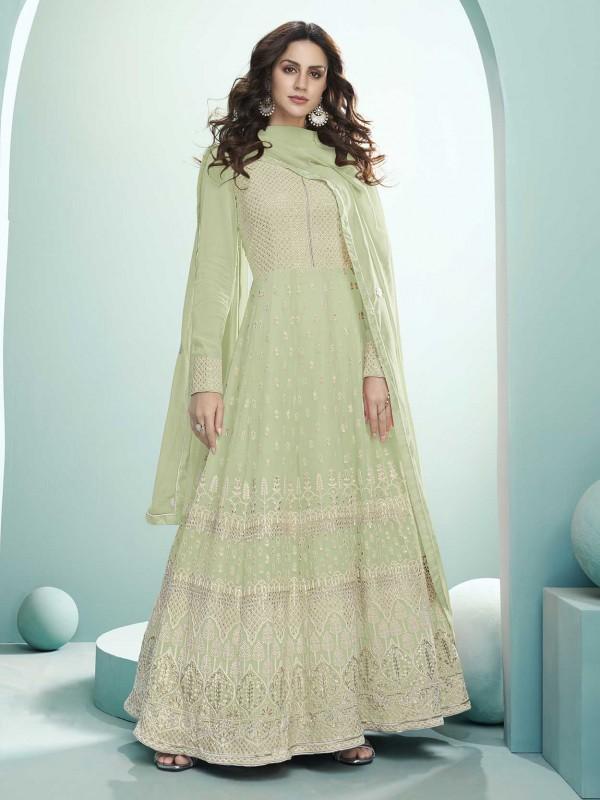 Pista Green Colour Lucknowi Work Salwar Suit.