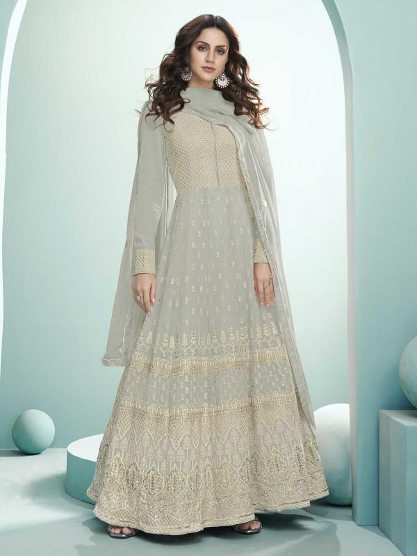 Grey Colour Lucknowi Anarkali Salwar Suit.