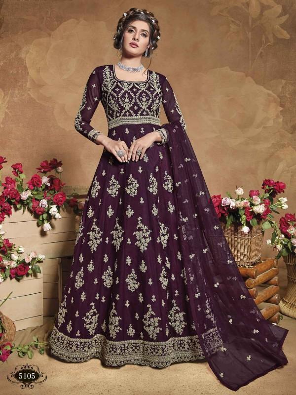 Purple Colour Net Fabric Anarkali Salwar Kameez.
