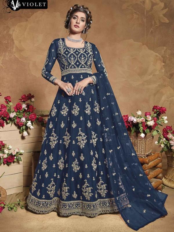 Blue Colour Net Designer Women Salwar Kameez.