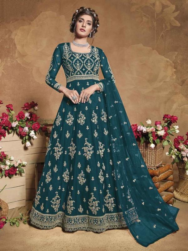 Teal Blue Colour Net Fabric Anarkali Salwar Kameez.