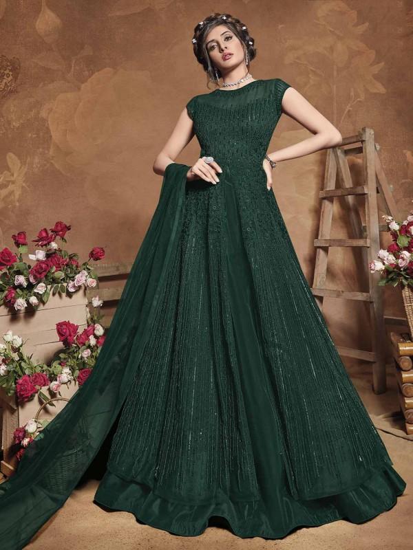 Net Designer Anarkali Salwar Kameez Green Colour.
