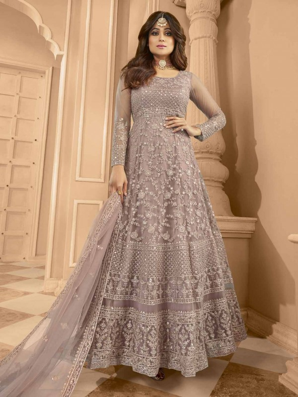 Net Designer Anarkali Salwar Kameez Purple Colour.
