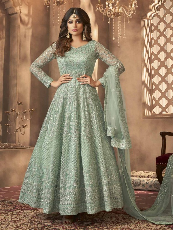 Sky Blue Colour Net Fabric Bollywood Salwar Kameez.