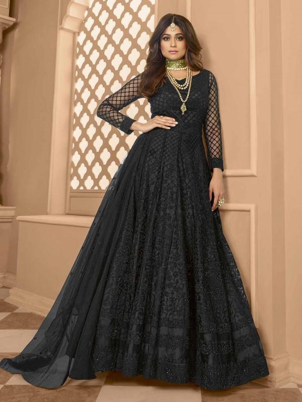 Black Colour Net Fabric Party Wear Bollywood Salwar Suit.
