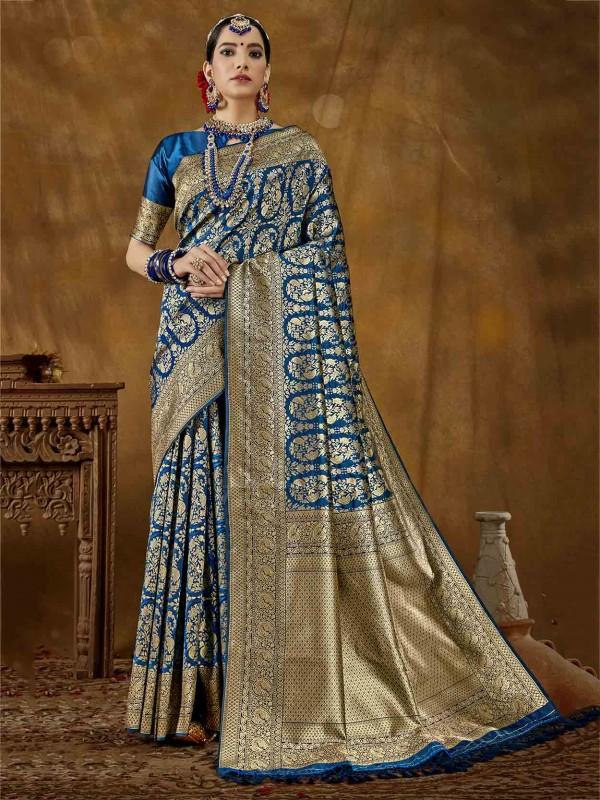Blue Colour Banarasi Silk Women Saree.
