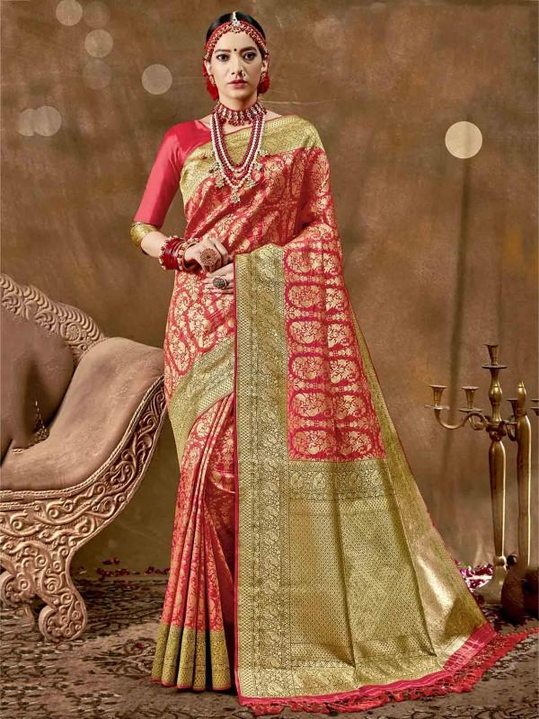 Silk Indian Designer Saree Red Colour.