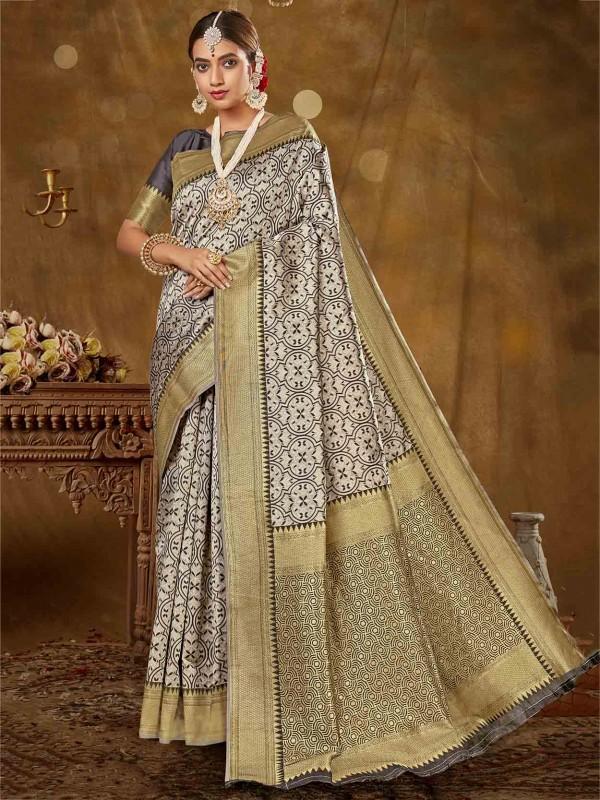 Golden,Grey Colour Silk Designer Saree.