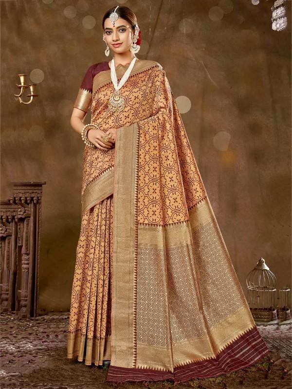 Rust Colour Silk Women Saree.