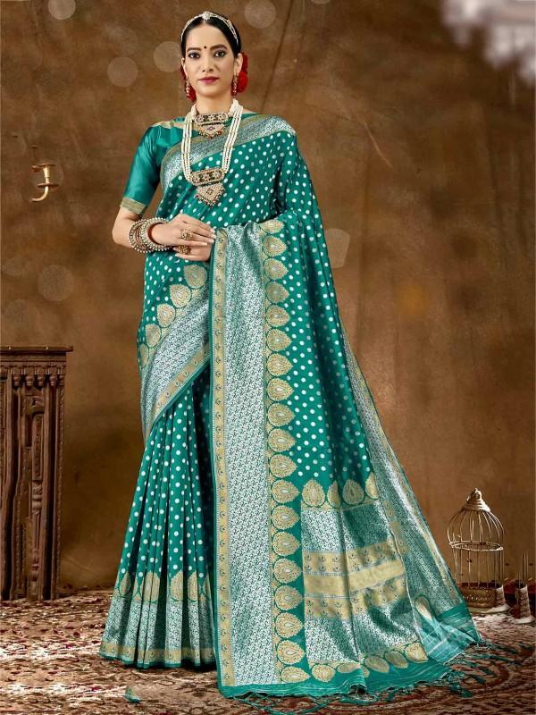 Rama Green Colour Silk Designer Saree.